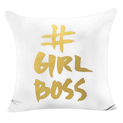 Vovotrade Kissenbezug 45 x 45 cm Lippen Gold Folie Druck kissenhülle Sofa Taille Wurf Kopfkissenbezug Pillow Cover,Weiß Serie