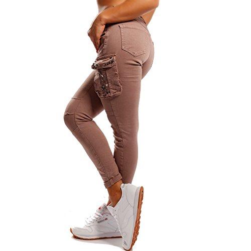 Damen Cargohose Slim-fit Jeans mit Strass Mid Waist Power Stretch im Boyfriend-Style Altrosa