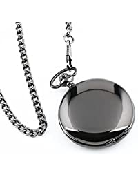 Reloj de bolsillo moderno de caso arábigos blancos de Pixnor los hombres negro liso de acero inoxidable con caja de regalo