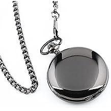 UEETEK Reloj de bolsillo moderno de caso arábigos blancos de Pixnor los hombres negro liso de acero inoxidable con caja de regalo