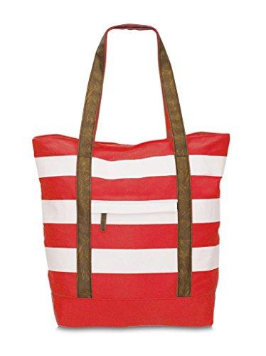 Strandtasche / Shopper Colorblocking 44 x 39 cm (rot) rot
