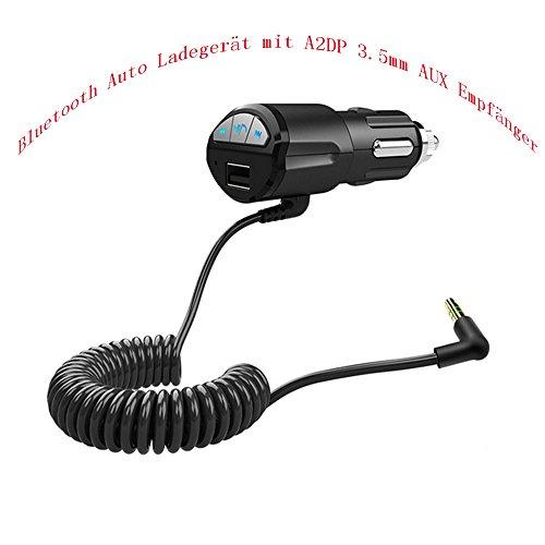 OFT Auto-Ladegerät 3.5MM Bluetooth A2DP AUX Audio Stereo Musik Dongle Empfänger Adapter (schwarz) - Bluetooth A2dp Stereo Audio
