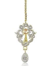 SKN Silver And Golden Alloy American Diamond Maang Tikka Hair Pin For Women & Girls (SKN-3933)