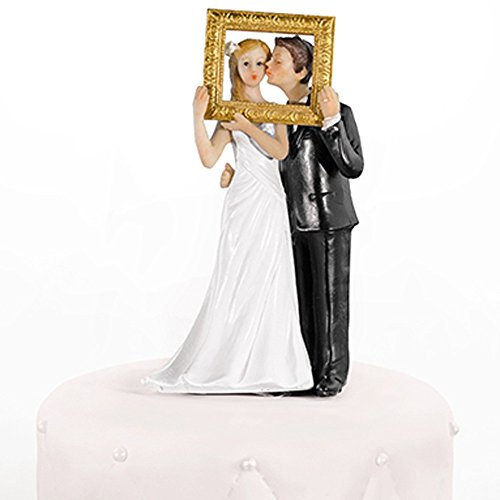 Hochzeitstortenfiguren goldener Bilderrahmen 14,5 cm - Tortenfiguren Hochzeit Tortendeko Hochzeit...
