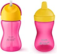 Philips Avent Grippy Spout Cup, 300ml, Multicolor with Philips Avent SCF798 Aven Straw Cup (Assorted)