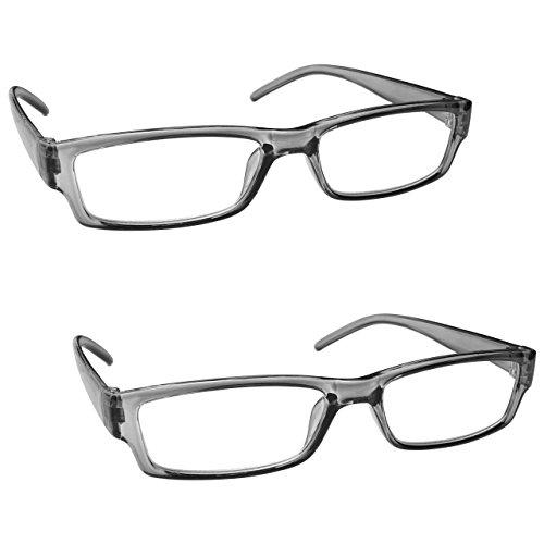 La Compañía Gafas De Lectura Gris Ligero Cómodo Lectores Valor Pack 2 Hombres Mujeres RR32-7 Dioptria +2,50