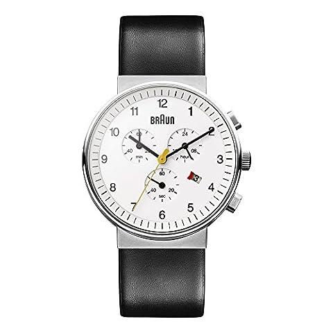 Braun - BN0035WHBKG - Montre - Homme - Quartz Analogique - Chronographe - Bracelet Cuir Noir