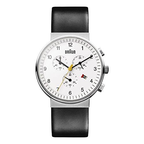 Braun BN0035WHBKG - Reloj cronógrafo de caballero de cuarzo con correa de piel negra