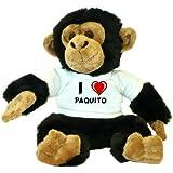 Chimpancé de peluche (juguete) con Amo Paquito en la camiseta (nombre de pila/apellido/apodo)