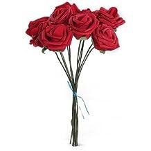 Planta Artificial Ramo Flor Rosa Rojo Decoración Espuma PE Novia Boda