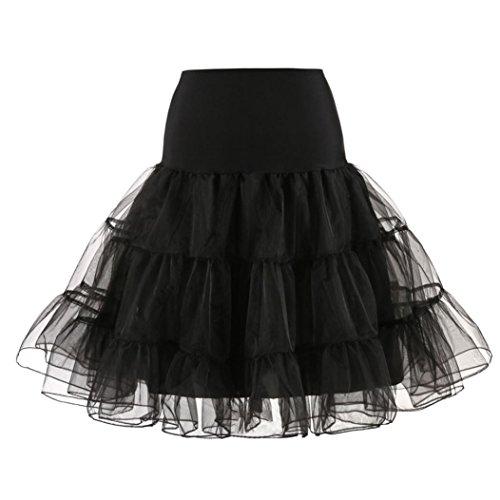Damen 1950 Petticoat Reifrock Unterrock Underskirt Kurz Ballet Tanzkleid Erwachsenen Tutu Unterkleid Crinoline Unterkleider für Rockabilly Kleid Style_Dress (Schwarz, S) (Brautkleider Zubehör)