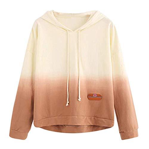 iYmitz DamenHoodie gedruckt Patchwork Sweatshirt Langarm Pullover Tops Bluse(Grün,L)