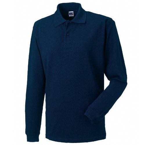 Russell - Polo Maniche Lunghe 100% Cotone - Uomo (L) (Blu navy)