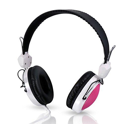 Fulltime E-Gadget Musik Kopfhörer, Wired Over Ear Headset Mit Mikrofon Steuerung Stereo-HiFi-Musik Computer-Headset (Rosa)