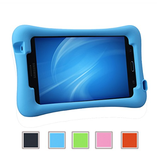 NEWSTYLE Samsung Galaxy Tab 4 7.0 Kinderfreundliche Silikon Hülle Schutzhülle Tasche Case für Samsung Tab 4 SM-T230 / T231 / T235 (7 Zoll) - Blau (7 Zoll Tablet Tasche Für Mädchen)