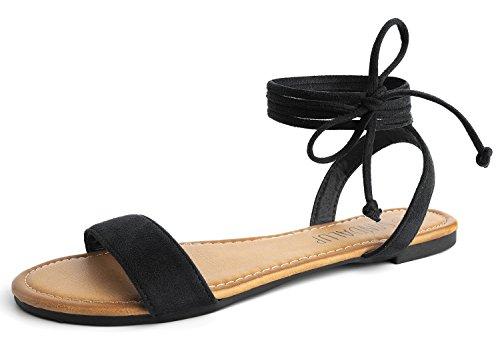 SANDALUP Flache Sandalen mit Schnürung für Damen Schwarz 07 - Schwarze Sandalen Flache Frauen