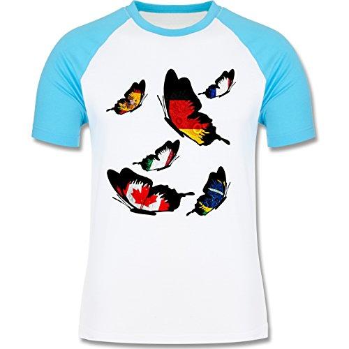 Länder - WM Länder Schmetterlinge - zweifarbiges Baseballshirt für Männer  Weiß/Türkis