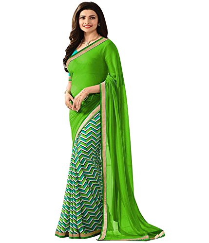 SareeShop Georgette Saree With Blouse Piece (_Green_Free Size)
