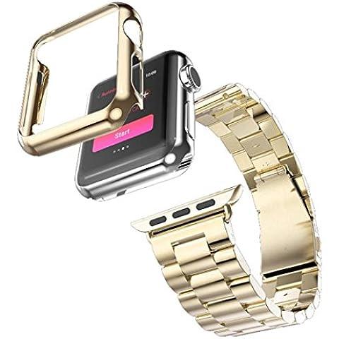 Lacaca - Correa de acero inoxidable, adaptador y funda para Apple Watch, 38 mm
