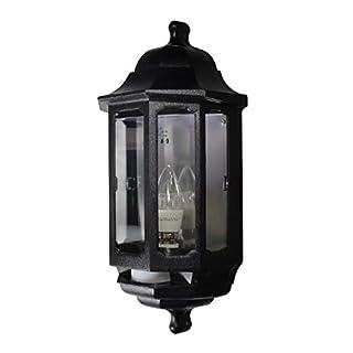ASD HL/BK060P LED Half Lantern Wall Light with PIR Sensor - Black