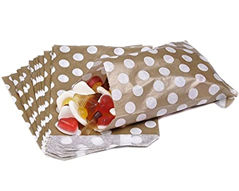 100 CANDY POLKA DOT PAPER BAGS SWEET FAVOUR BUFFET GIFT SHOP PARTY SWEETS CAKE WEDDING JeeJaan (Gold Polka Dot, 7
