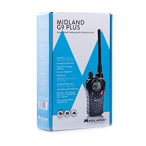 Midland G9 Plus Funkgerät, C923.10, wasserdicht und mit Notfallknopf, einzelnes qualitativ hochwertiges Walkie Talkie, sehr hohe Sendeleistung