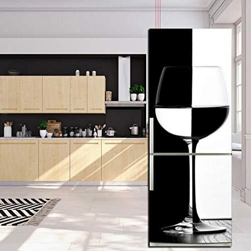 JY ART Autocollant Mural Autocollants de Porte de réfrigérateur Personnalité Créatif Décoration d'intérieur DIY Verres à vin Noir et Blanc pour Cuisine Salon Chambre Décoration, 60 * 180cm