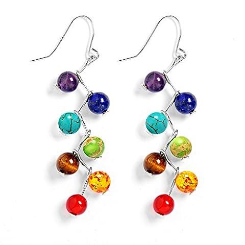 Frauen 7 Chakra Energie Balancing Perlen Baumeln Ohrringe Bunte Edelstein