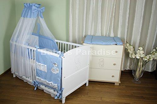 Baby Bettwäsche Set mit Applikation (Bär Dreamer) (9 tlg, Blau)