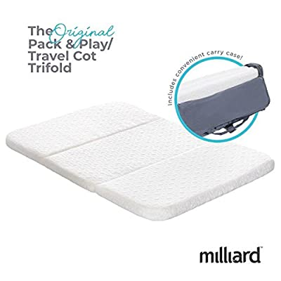 Milliard Travel Cot/Pack and Play Mattress, Conveniently Folds Into Bonus Carry Bag - 95 x 65 x 3.75cm