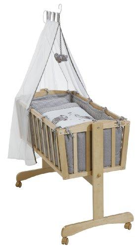 roba Komplettwiegenset, Babywiege 'Jumbotwins' (40x90cm), Holz, natur, Stubenwagen & Wiege mit Feststellfunktion, Wiegenset inkl, kompletter Ausstattung & Baby Bettwäsche (80x80cm)