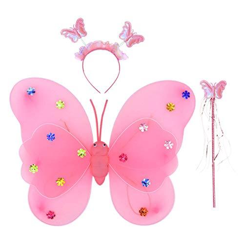 Amosfun 3 stücke Mädchen Fee Prinzessin Kostüm Set Blinkende Schmetterlingsflügel Zauberstab Stirnband für Mädchen Kind Kinder (Rosa, Knopfbatterien Sind enthalten)