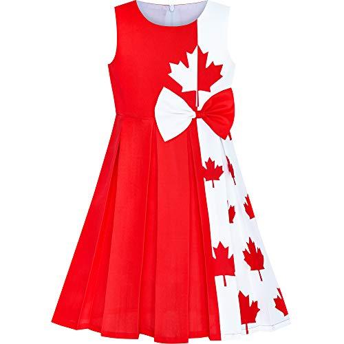 Sunboree Mädchen Kleid Kanada Flagge Nationalfeiertag Party Kleid Gr. 116
