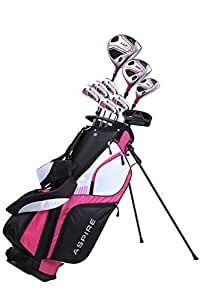 Aspire XD1 Ladies Womens Complete Right Handed Golf Clubs Set Includes Titanium Driver, S.S. Fairway, S.S. Hybrid, S.S. 6-PW Irons, Putter, Stand Bag, 3 H/C's Cherry Pink