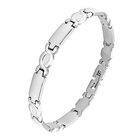 Zysta Women's Stainless Steel Chain Link Wrist Bracelet Silver Tone Chain Bangle Cuff Valentine's Gift
