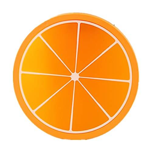 7 Stück kreative Silikon Frucht Untersetzer Frucht-Scheiben Silikon Untersetzer, Getränk Kaffee Tee Glas Glasuntersetzer Becher Halter Mat für Küche Wohnzimmer und Bar Orange 9cm -