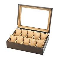 XFPINK Watch Box Storage 10 Slot Watch Jewellery Display Storage Box Case Bracelet Small Travel Tray Faux Leather Box