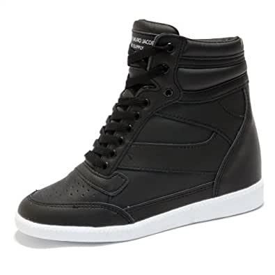 Womens Black High Top Hidden Wedge Trainers Ankle Sneakers (UK 5.5-6)