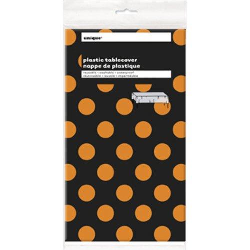 aus Kunststoff, schwarz mit orangen Punkten, 2,74x1,37m (Schwarzes Kunststoff-tischdecke)