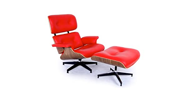 Kardiel Eames Style Plywood Lounge Chair  Ottoman Red Aniline
