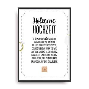 Geschenk Karte HÖLZERNE HOCHZEIT Kunstdruck 5. Hochzeitstag Holz Brautpaar Bild ohne Rahmen DIN A4