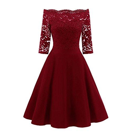 • • LUCKYCAT Räumungsverkauf Damen Spitzenkleid für eine Neue Vintage Spitze Patchwork...