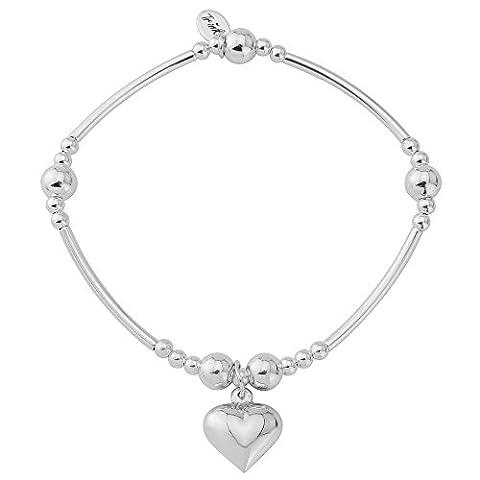 Trink Brand Serendipity Heart Sterling Silver Beaded Charm Bracelet