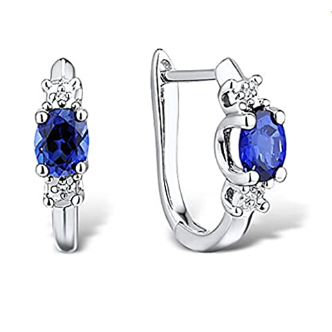 XZX Women's Fashion Sterling Silver set with Create Sapphire and Diamond Earrings