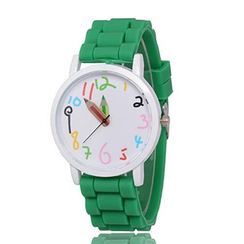 WEIHUIMEI 1 Stück Silikon Sport Quarz Frauen Fashion Uhren Ziffernblatt Bleistiftzeiger Armbanduhr für Mädchen Jungen Kinder Kinder, grün, 1 Stpck (Grüne Mädchen-uhr)