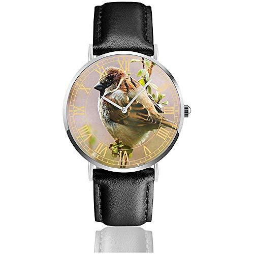 Guarda Sparrow Twig Bird Leaves Personalizzato Orologi Da Polso Al Quarzo In Acciaio Inossidabile E Cuoio Sintetico Personalizzato