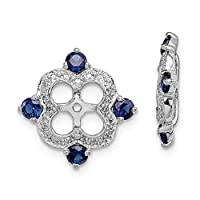925 Sterling Silver Rhodium plated Diamond and Created Blue Sapphire Earrings Jacket Jewelry Gifts for Women
