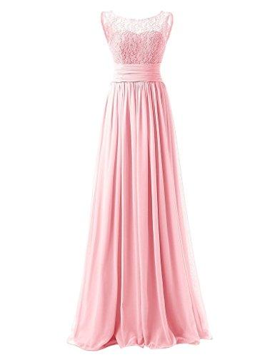 JAEDEN Damen Chiffon Ballkleider Lang Spitze Aermellose Abendkleider Festkleid Rosa