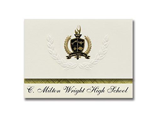 C. Milton Wright High School (Bel Air, MD) Schulabschlussankündigungen, Präsidential-Stil, Grundpaket mit 25 goldfarbenen und schwarzen metallischen Folienversiegelungen