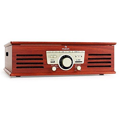 auna TT-92B Plattenspieler Schallplattenspieler (USB-SD-Slot, AUX-IN, UKW Radio, Stereo-Lautsprecher, Holzfurnier) braun - 2